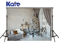 Kate Christmas Photography Backdrop White Brick Wall Sofa Photography Backgrounds Silvery Tree Floor Backdrops For Photo