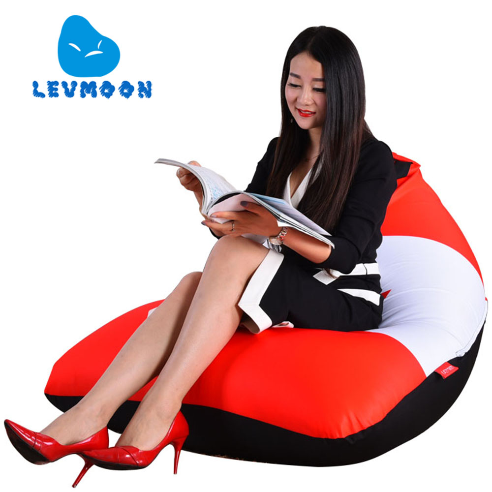 LEVMOON Beanbag Sofa Chair Canada Flag Seat Zac Bean Bag Bed Cover Without Filling Indoor Beanbags