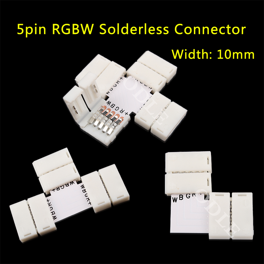 5pin LED Strip Clip, 5 pin RGBW RGBWW LED Strip Connector For 10mm width 5050 RGB+W RGB+WW Light Strips 10pcs 12mm 10mm 5 pin rgbww led strip connector free welding for smd 5050 rgbw led strip lights