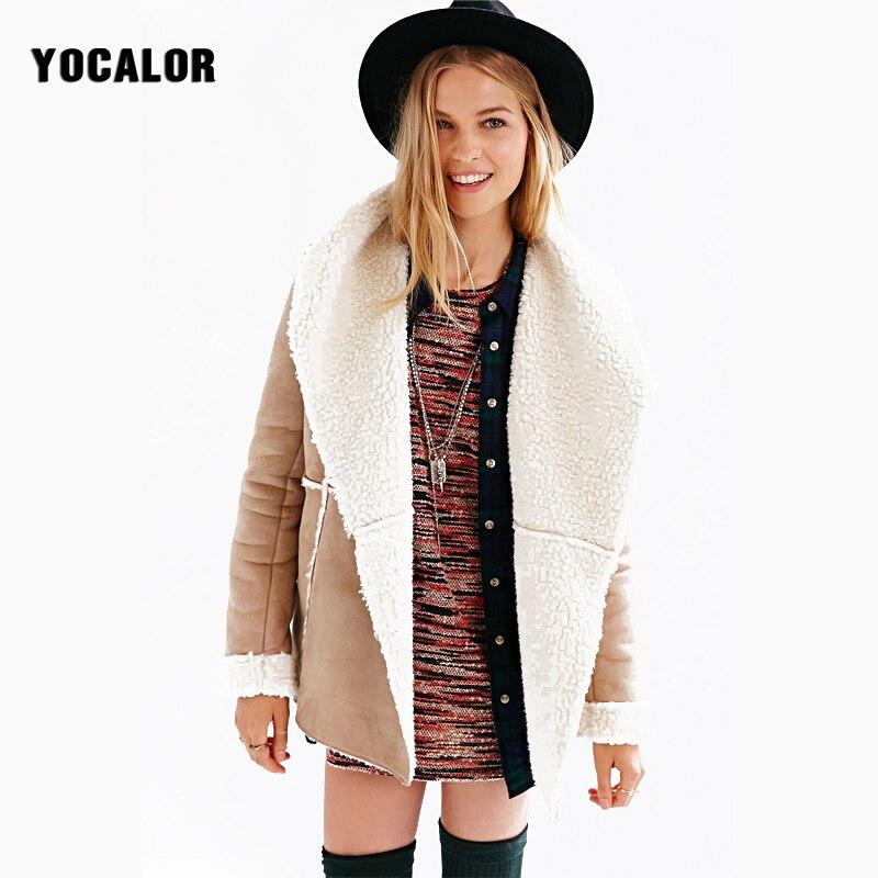 2017 Winter Vintage Chamois Long Sleeve Loose Autumn Coat Female Parka font b Wool b font