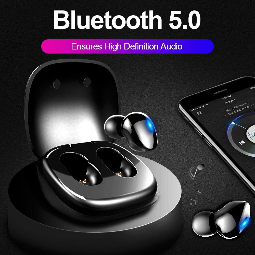 Bluetooth 5.0 Fone De Ouvido Sem Fio Fones De Ouvido para o telefone Verdadeiro 6MM Unidade Dinâmica Estéreo Sem Fio Mini Fones de Ouvido de ALTA FIDELIDADE Com caixa de carga