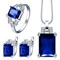 Azul Céu Azul Verde vermelho pedra cz Conjuntos de Jóias Para As Mulheres Da Moda Colar de Pingente Brincos Anéis para Presente de Noivado
