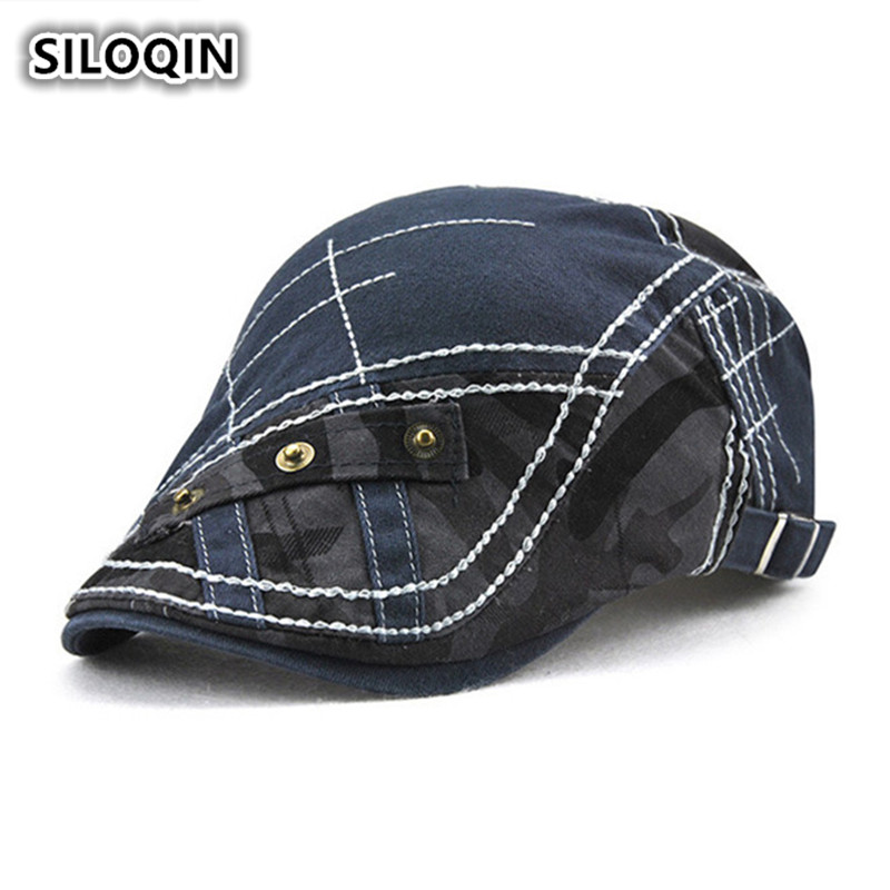 SILOQIN Personality Men 39 s Cap Camouflage Cotton Patch Beret For Men Trendy Hip Hop Male Bone Adjustable Head Size Brands Dad Hat in Men 39 s Berets from Apparel Accessories