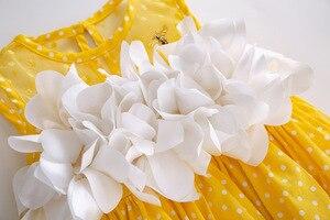 Image 4 - Pettigirl Neueste Mädchen Ostern Kleid Sommer Weiße Blume Dot Ärmel Gelb Baumwolle Kinder Kleid Mit Headwear G DMGD201 C137