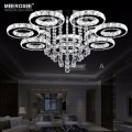 LED Chandeliers Crystal Round Rings Lighting Fixtures Modern Silver Dinning Room Hanging Lamps DIY Style Fast Shipment
