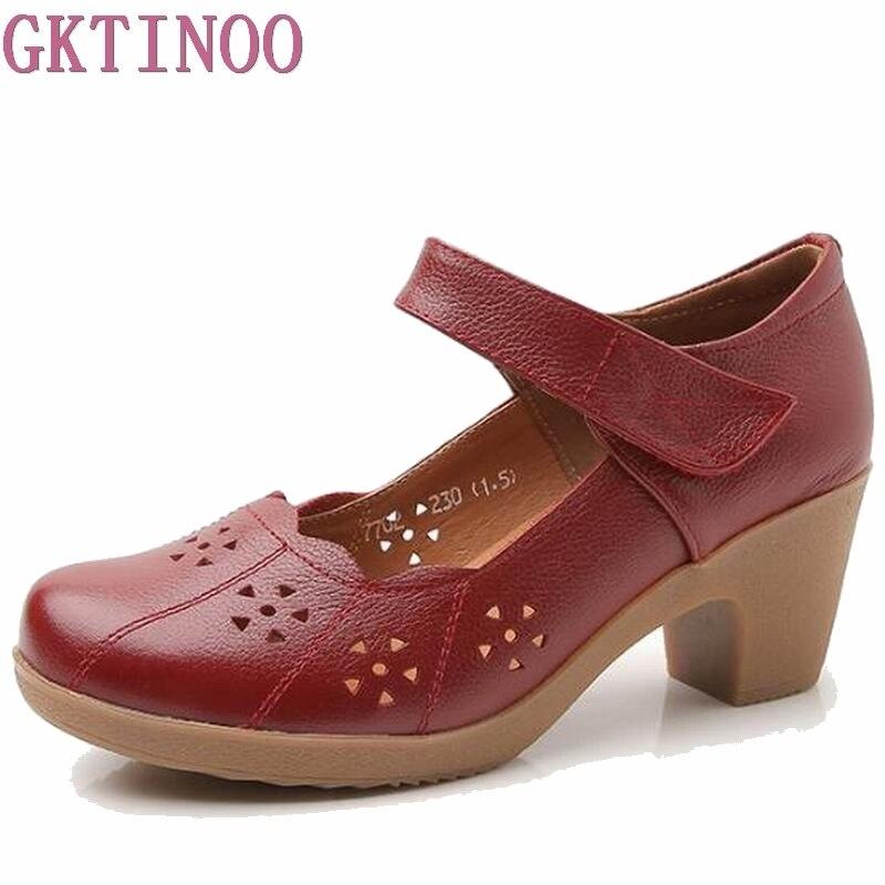 2018 Primavera Outono Sapatos de Mulher 100% Couro Genuíno Das Mulheres Bombas Senhora Plataforma Dedo Do Pé Redondo Boca Rasa Sapatos de Couro Tamanho 32-42