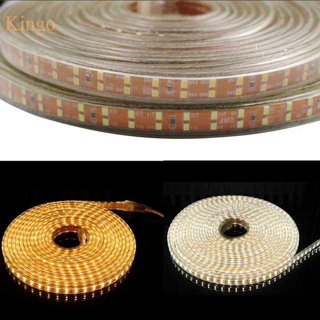 Us 4 5 15 Off High Brightness Double Row Smd 2835 Led Strip Ac 220v 156leds M Ip67 Waterproof Warm White Flexible Rope Outdoor Home Decoration In