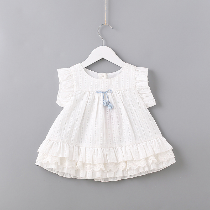 2018 Summer Girls Dress for Toddler Baby Girl Solid Tiered Layered Baby Casual Dress for Party and Wedding White Dresses for 2Y платье для девочек party dresses for girls baby 2 11 casual girl dress