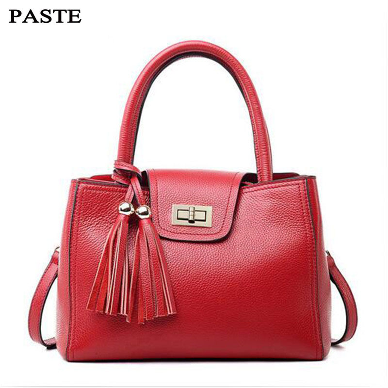 PASTE New Arrival Genuine Leather Tassel Handbags Fashion Hasp Shoulder Bag Soft Leather Cross Body Brand Women Messenger Bags herald fashion genuine leather messenger bag for women tassel shoulder bags casual brand tote bag handbags new design shell bag