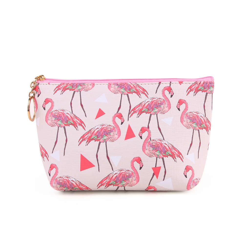 8c2a9e6e0b 1PC New Women Fashion Flamingo Cosmetic Bag Zipper Makeup Cartoon Cute  Storage Pouch Toiletry Handbag Holder