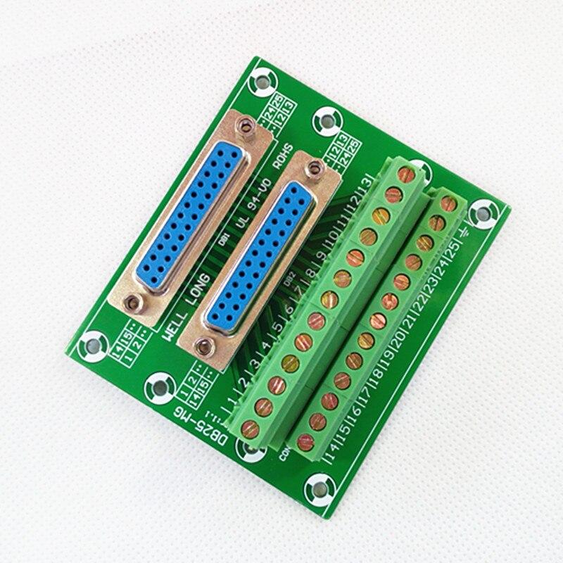 D-SUB DB25 Double Female Header Breakout Board, Terminal Block, Connector.D-SUB DB25 Double Female Header Breakout Board, Terminal Block, Connector.