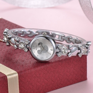 Image 2 - Women Bling Rhinestone Luxury Ladies Gold Silver Steel Bracelet Watches Fashion Female Crystal Diamond Watch Girl Quartz Clock