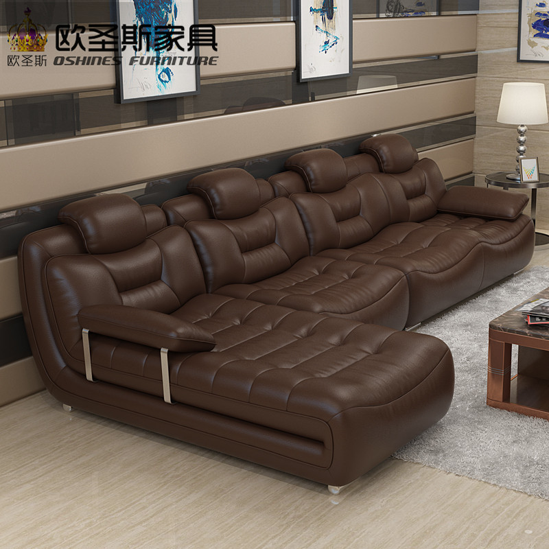 Feliz marrón Doca Muebles habitación importados de Italia de moderna seccional sofá de cuero con acero inoxidable patas de cromo
