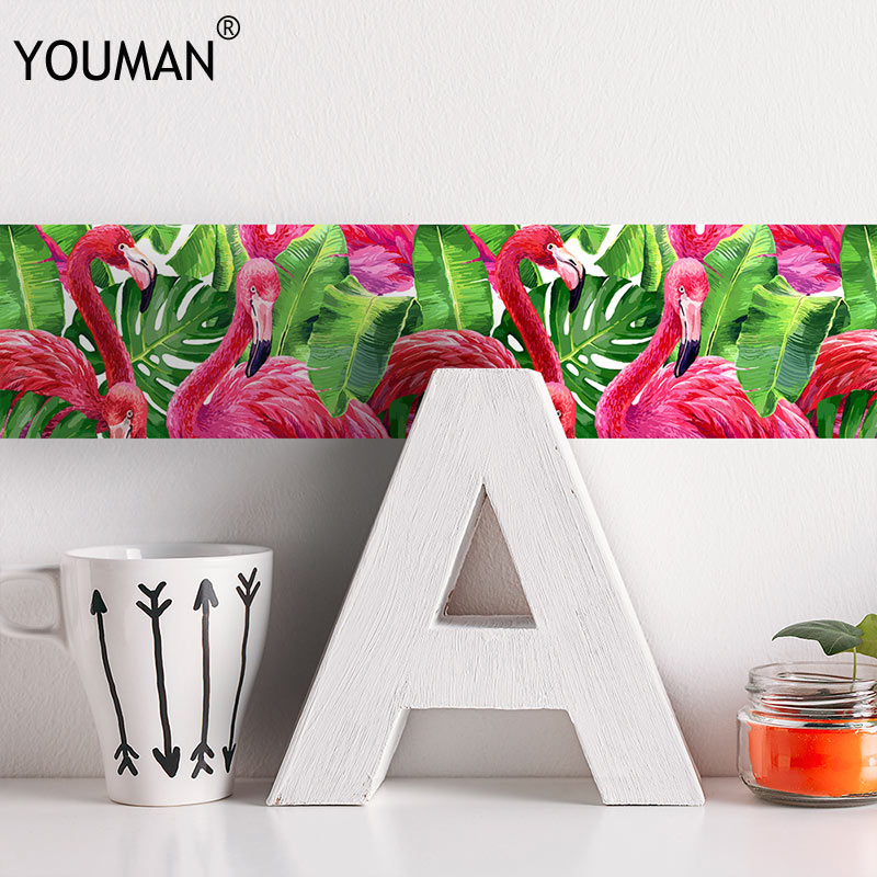 YOUMAN Flamingo 3D Sticker Wallpaper Border Waterproof Self-adhesive Waist Lines Wall Border Sticker For Kitchen Bathroom Decor
