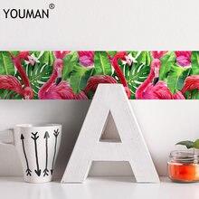 YOUMAN Flamingo 3D Sticker Wallpaper Border Waterproof Self-adhesive Waist lines Wall for Kitchen Bathroom Decor