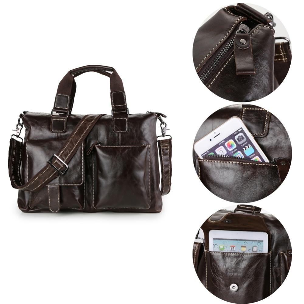ФОТО 14 inch Notebook Computer Laptop Genuine Leather Bag for Men Commercial Business Briefcase Shoulder Messenger Bag for Macbook