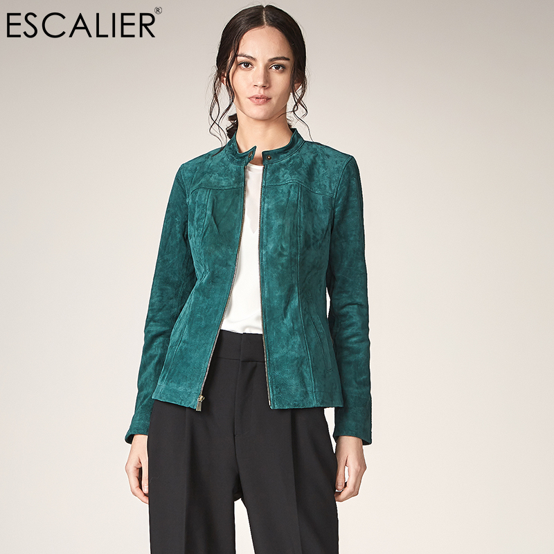 ESCALIER Women Genuine Leather   Jackets   Casual Pigskin Plus Size Outerwear Green Long Sleeve Women Autumn   Basic     jacket   Coats