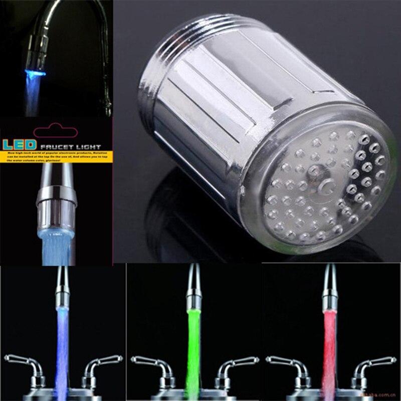 Светодиодный светильник с подсветкой, водопроводный кран для душа, датчик температуры, интеллектуальная насадка для воды, кухонные смесители, 3 типа - Цвет: Colorful without ada