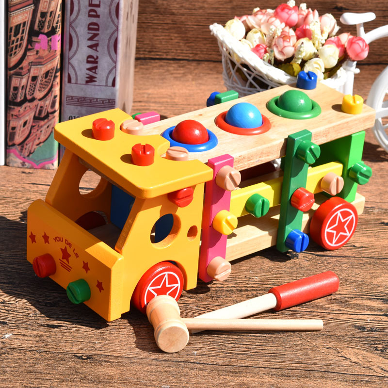 MamimamiHome Baby Toys Wooden Dismounting Nut Car Assembly Multifunction Play Ball Table Montessori Toys For Children Blocks children table football game ball machine toys