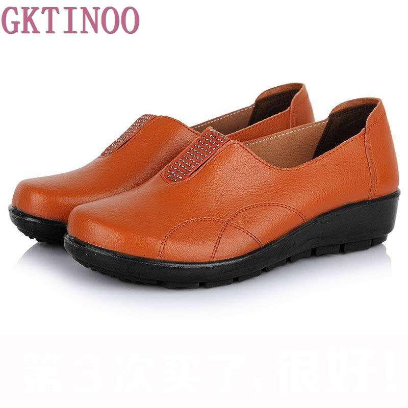 High quality new arrival women genuine leather shoes casual single flats soft bottom mother work shoes free shipping aokang 2017 new arrival women flat genuine leather shoes red pink white women shoes breathable and soft free shipping