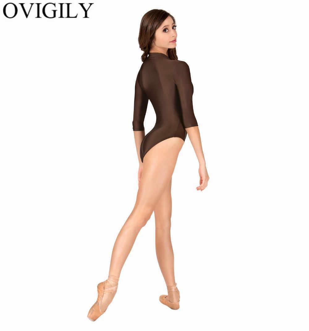 OVIGILY المرأة الجبهة البريدي 3/4 طويلة الأكمام يوتار ل الجمباز الفتيات أسود الرقص ثياب داخلية دنة الياقة المدورة يوتار