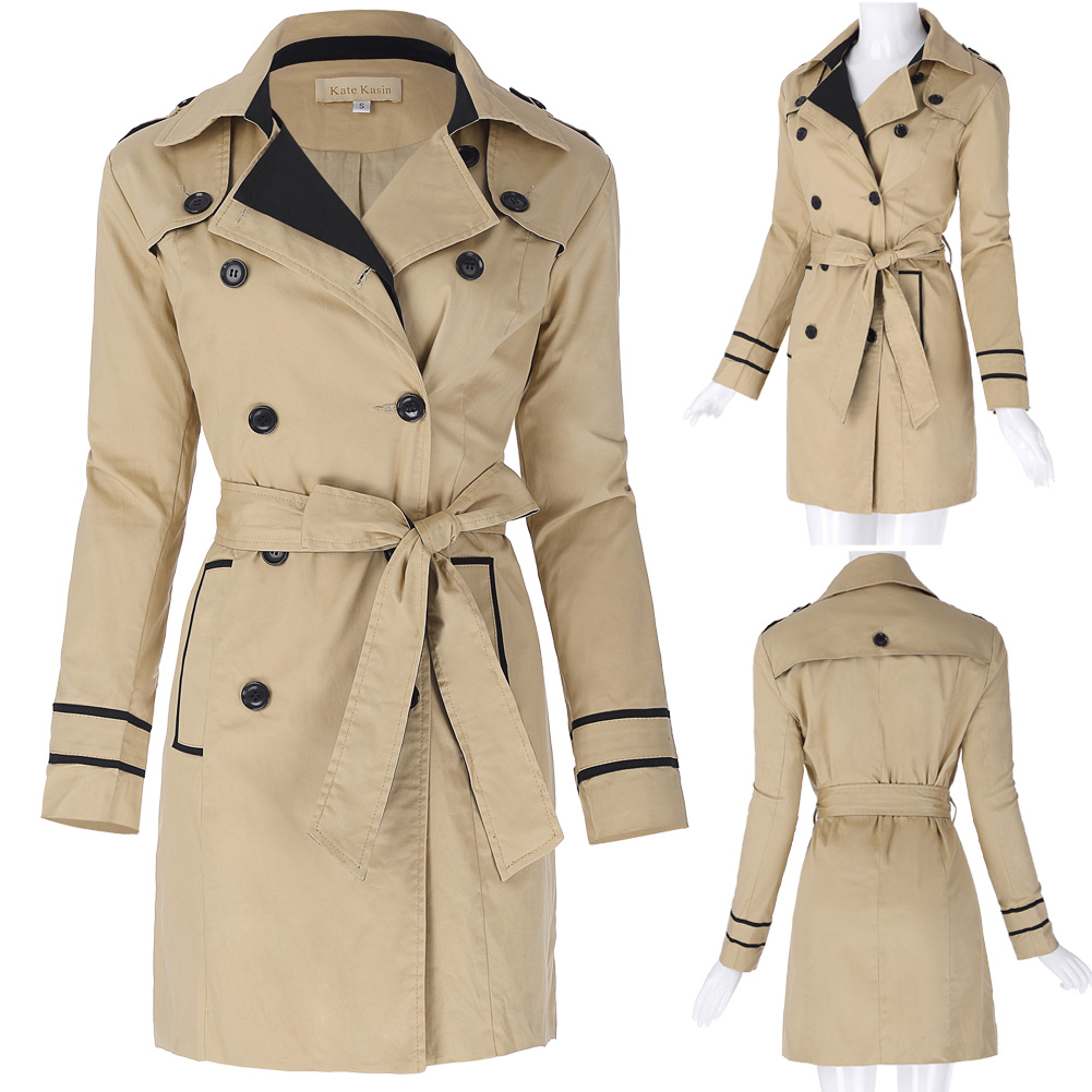Stylish & Slim Fit Women Clothing Spring Autumn Double Breasted Mid Long Coat 2018 New Fashion Belt Pockets Trench Coat for wome