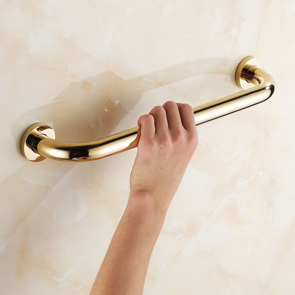 Leyden Gold Finish Brass Bathroom Accessory Straight Grab Bar Assist Safety 30/35/40/45/50CM Anti-slip Grip Handrail Bathtub