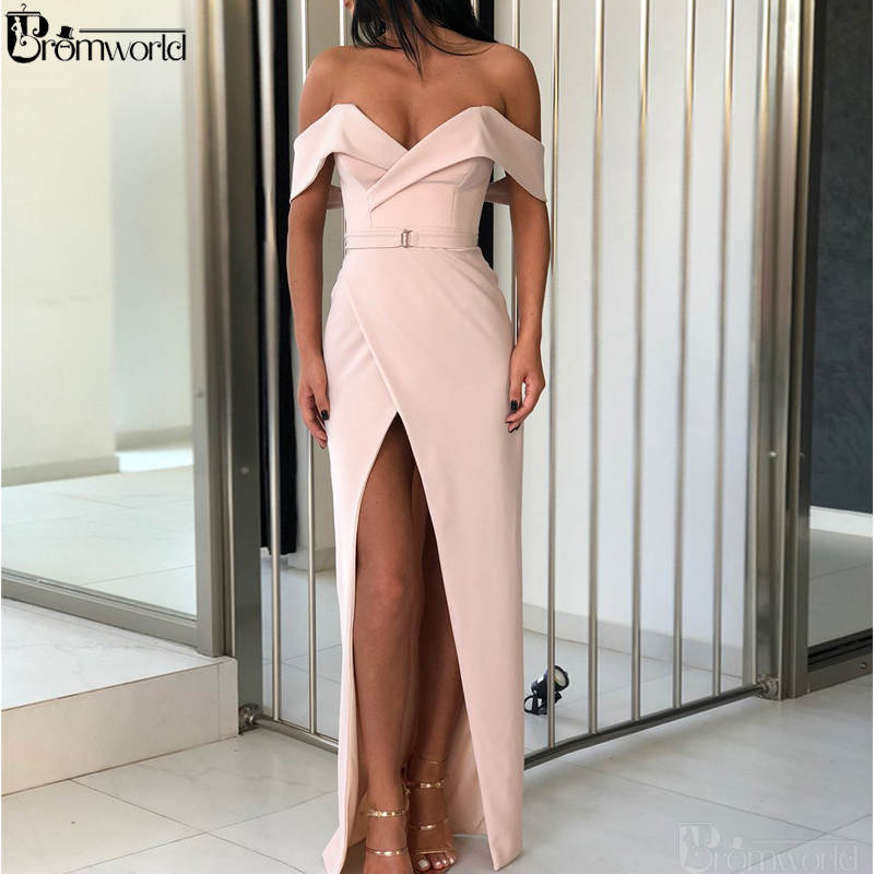 Champagne Evening Dresses 2019 Robe De Soiree Off The Shoulder Sheath Prom Dress High Slit Sexy Long Elegant Evening Gown