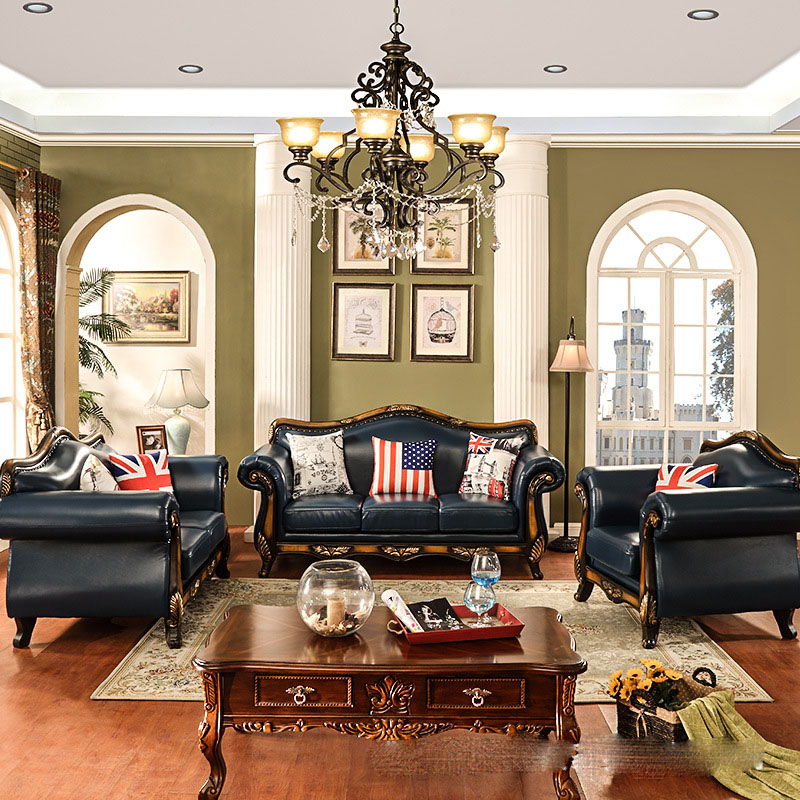 Real Leather Living Room Set: European Luxury Combination Living Room Furnitures