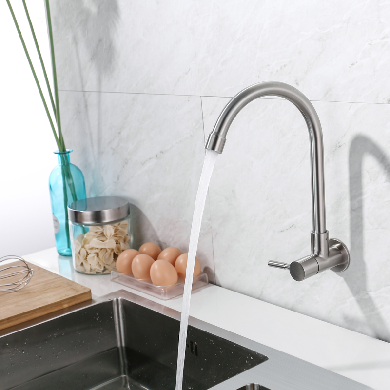 US $28.24 |IVRICH Wall Mounted kitchen faucet Single Cold Tap Stainless  kitchen tap Rotatable kitchen mixer VR4008-in Kitchen Faucets from Home ...
