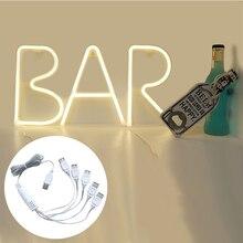 Night Light Neon Alphabet Lamp 1*USB TO 5*Female USB For Birthday Wedding Party Bedroom Wall Hanging Decor Light Night