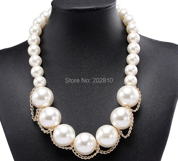 Evropa Združene države velika okrašena biserna ogrlica, velike kroglice verižica za pulover za ženske, zlata barva verižica biserne kroglice