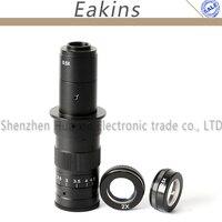 10X ~ 180X 25mm Zoom Ampliação Ajustável C-mount Lens 0.7X ~ 4.5X + 0.5X/2.0X Barlow lente De Vidro Lente auxiliar para C-MOUNT