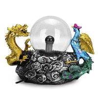 110V US Plug Thunder Plasma Ball Resin Sphere Lamp Magic Lighting Dragon Touch Sense Static Light Perfect Gift for Friends Kids
