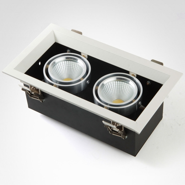 Square Led Spot Light Cob 7w 12w 20w Recessed Ceiling Lamp Single Double Head Grille Luminaire