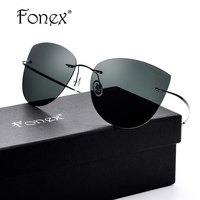 FONEX 2017 New Cool Men Oversized Square Rimless Sunglasses Women Cat Eye Titanium Polarized Sun Glasses