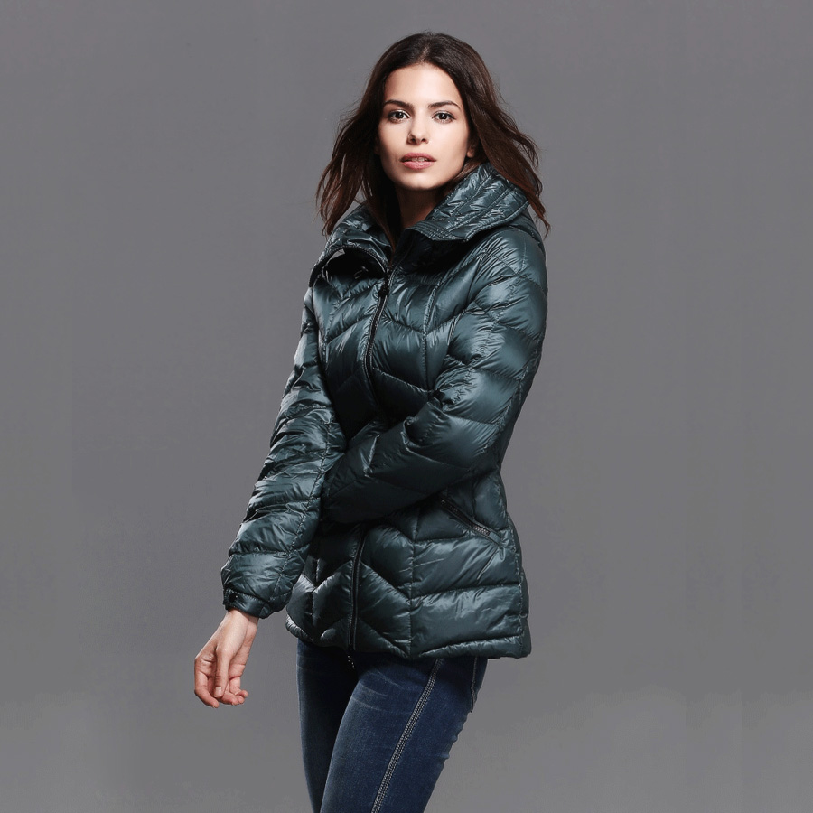 2016 Winter Women s Fashion European Style Slim Stand collar Long Sleeve Hooded Down Cotton Parkas