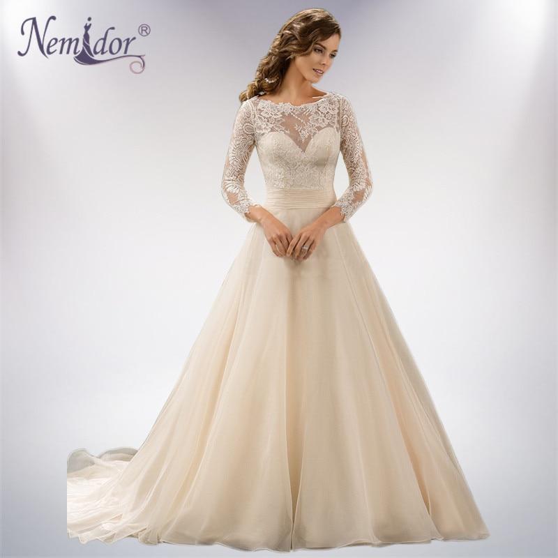 Nemidor Custom made Elegant 3/4 Sleeve Ball Gown Wedding Dress Lace ...