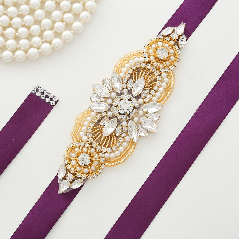 Gold Rhinestones Bridal Belt  Hand Beaded Bridal Sash Crystal Wedding Belt For Dress Accessories A173G