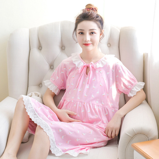 Pengpious Maternity Cotton Summer Dress For Nursing Lovely Lace