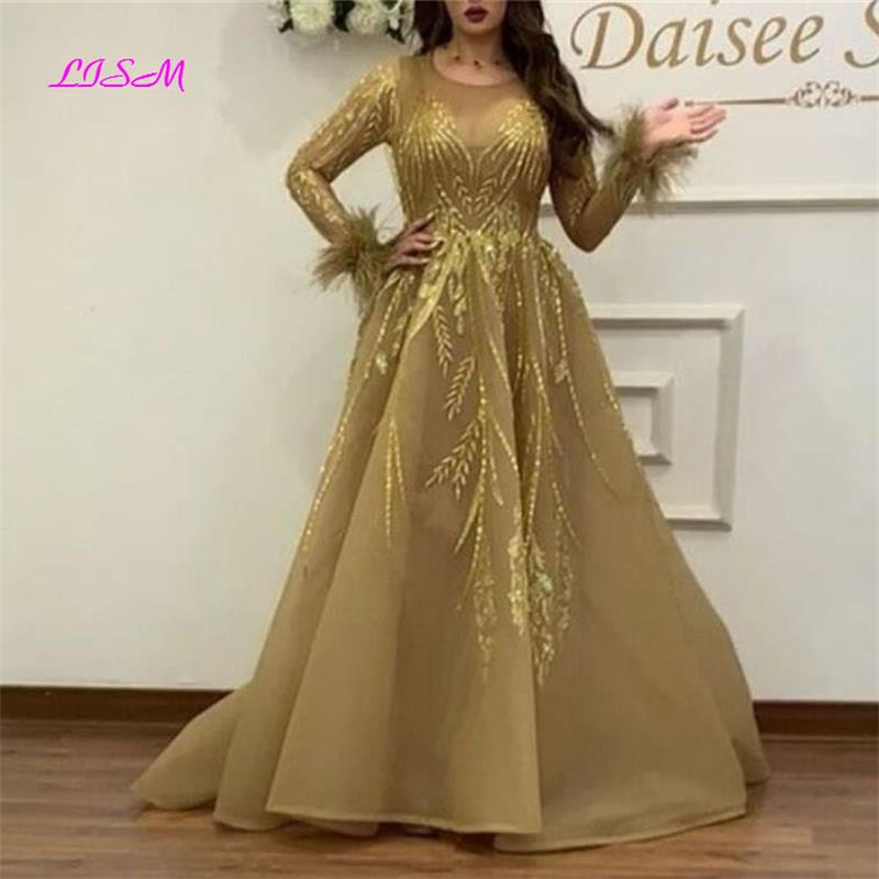 Luxury Crystal Long Sleeve   Evening     Dresses   O-Neck Tulle Formal Party Gown 2019 New Vintage Gold Dubai Prom   Dress   vestidos largos