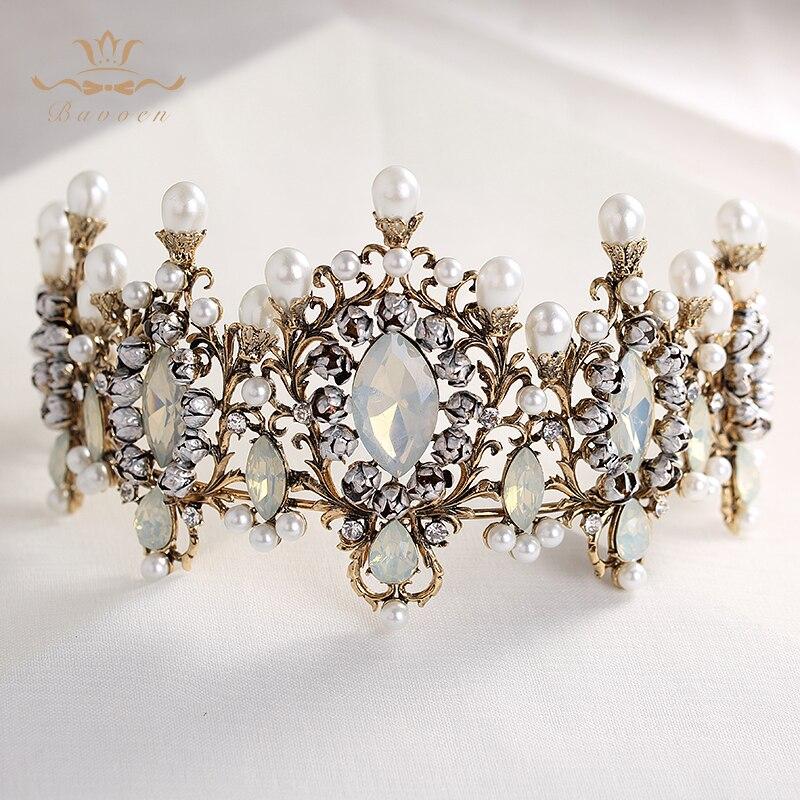 Bavoen Top Kwaliteit Elegante Retro Barokke Bruiden Haarbanden Crown Natuur Parels Bruiloft Tiara Hoofddeksels Prom Haar Accessoires-in Haarsieraden van Sieraden & accessoires op  Groep 2