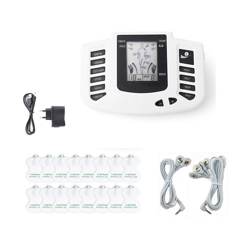 Russische Keryboard Elektrische Zehn Therapie Maschine Elektronische Massagegerät Puls Muskelstimulator Körper Entspannen + 16 Elektrode Aufkleber Pad