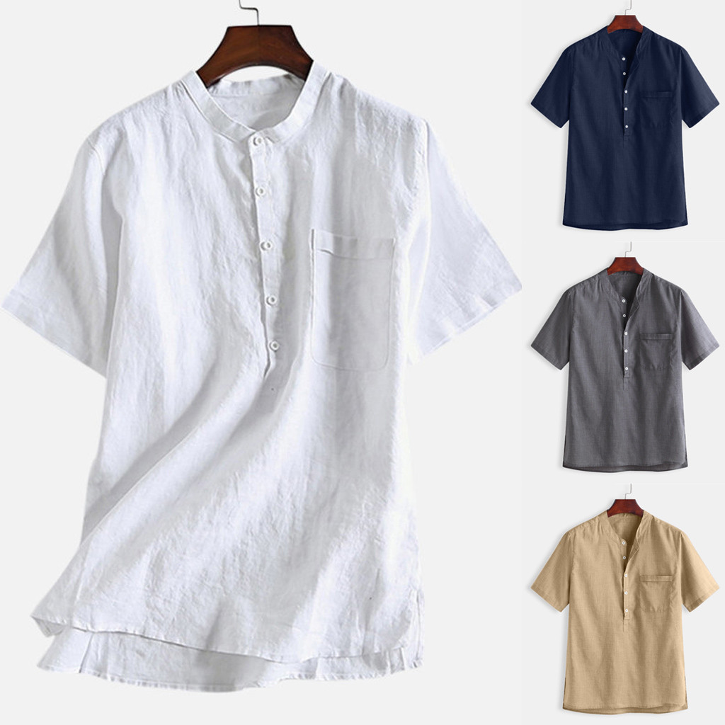 M-3XL Summer Men's Cool Thin Breathable Solid Color Button Cotton Shirt Short Sleeve Men Clothing Soft Comfortable Men's Shirt