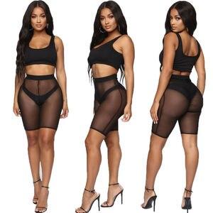 Image 4 - 4 kleuren Mesh Shorts Vrouwen See through Beach Badmode Cover Ups Nieuwe Hoge Taille Pure Kleur Bikini Cover Ups baden Shorts