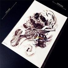 1PC Guns N Roses Flash Waterproof Temporary Tattoo Sticker Punk 3D Death Skull Head Body Art Arm Sleeve Armband Men Tattoo Paste