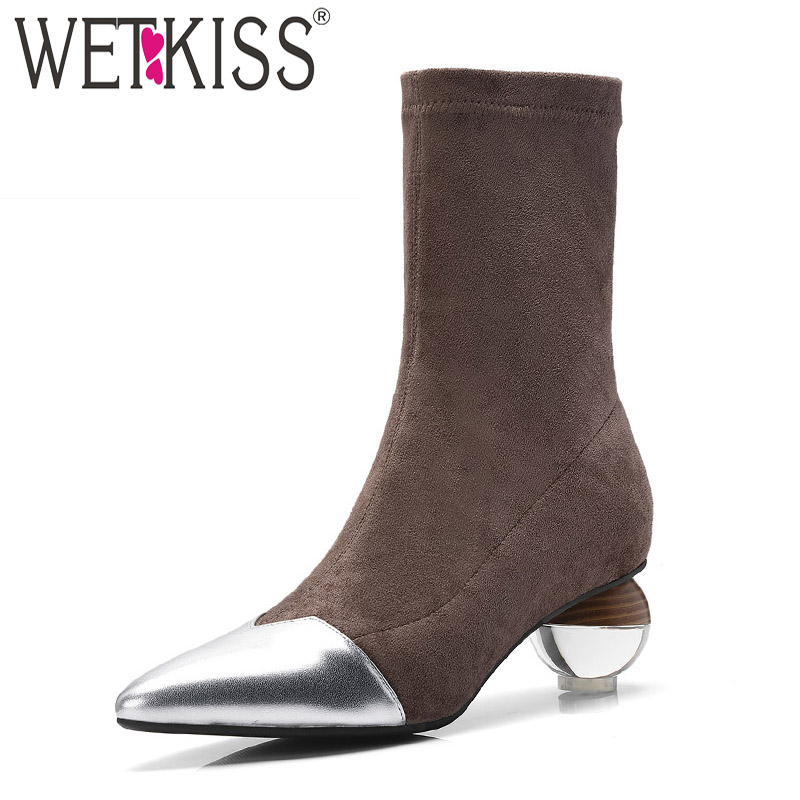 WETKISS Winter Transparent Egg High Heeled Women Ankle Boots Leather Footwear Rubber Stretch Boot Black Shoes Women 2018 NewWETKISS Winter Transparent Egg High Heeled Women Ankle Boots Leather Footwear Rubber Stretch Boot Black Shoes Women 2018 New