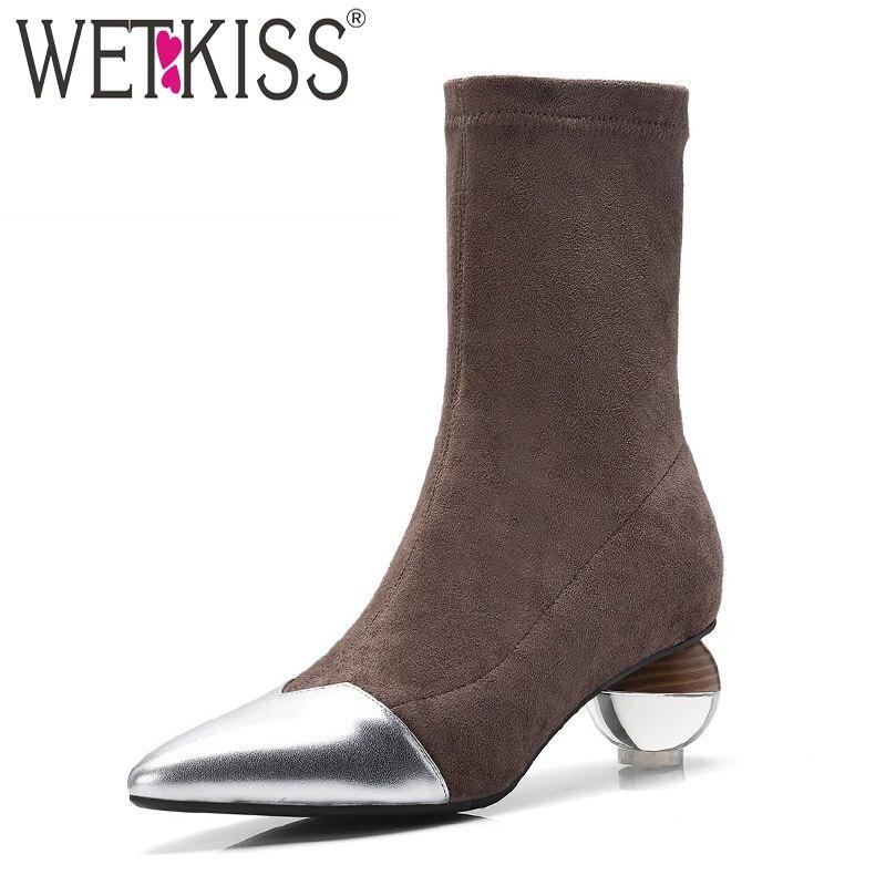 WETKISS hiver Transparent oeuf à talons hauts femmes bottines chaussures en cuir caoutchouc bottes extensibles noir chaussures femmes 2018 nouveau