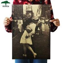 Dlkklb поцелуй победы классический крафт-бумага плакат Бар Кафе Фреска украшение дома декоративные картины стикер стены