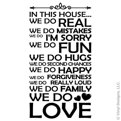 room art vinyl wall decal in this house we do family/love quote